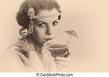 1920s vintage woman in sepia - Beautiful young vintage 1920s...