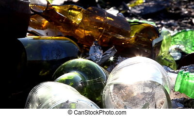 Broken bottles from the garbage