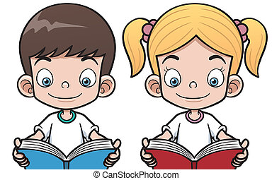 Boy and girl - Vector illustration of cartoon boy and girl...