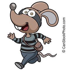 Rat thief - Vector illustration of Cartoon Rat thief running
