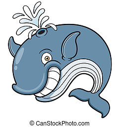 Whale - Vector illustration of Whale cartoon
