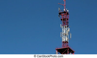 The red and white colored GSM tower used for communication