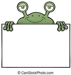 Green monster - Vector illustration of Cartoon green monster...