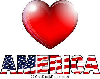 STARS and STRIPES HEART with AMERICA