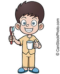 Boy brushing - Vector illustration of Boy brushing his teeth