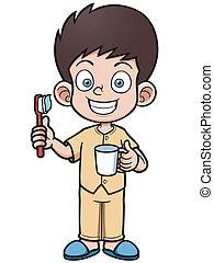 Boy brushing - Vector illustration of Boy brushing his teeth
