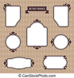 Vintage background foto frames with decorative ornament.