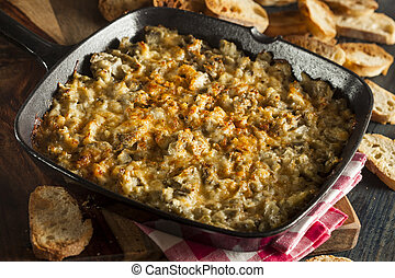 Homemade Cheesy Garlic Artichoke Spread with Bread
