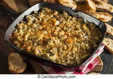 Homemade Cheesy Garlic Artichoke Spread with Bread