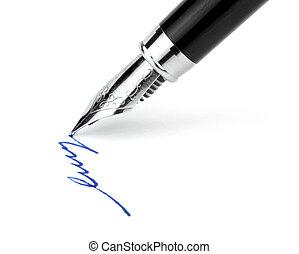 Fountain pen on white background
