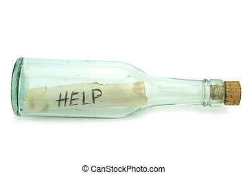 Message in a bottle,close up image