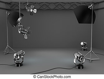 Photo studio room, light equipment