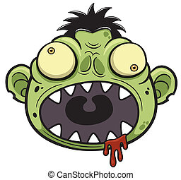 Zombie - Vector illustration of Cartoon zombie head