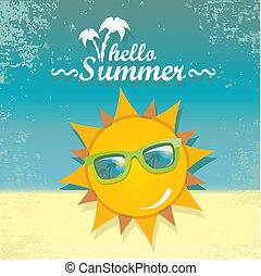 summer sky with sun with sunglasses - vector summer...