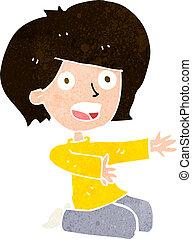 cartoon shocked woman on knees