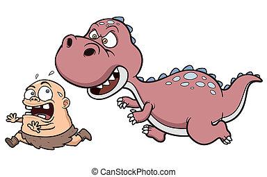 Dinosaur - Vector illustration of Dinosaur chasing a caveman