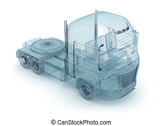 Mesh truck isolated on white. My ow
