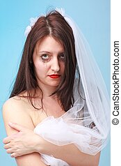 Sad bride with running make up - Sad young bride with...