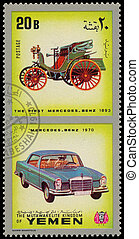YEMEN - CIRCA 1970: Yemen 3c stamp commemorates first...