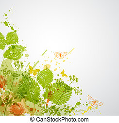 Abstract nature background with butterflies and leaves