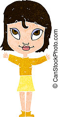 cartoon woman with open arms