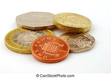 UK coins - Close-up of UK coins on white background