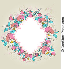 Label and sweet pea - Vector floral background with label...