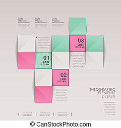 infographic vector elements with 3d origami style