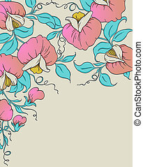 Background with pink sweet pea - Vector floral background...