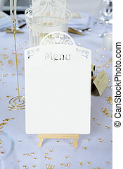 Wedding reception menu - Wedding reception table details...