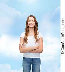 smiling teenager in blank white t-shirt