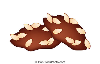 Two Homemade Almond Cookies on White Background - Snack and...
