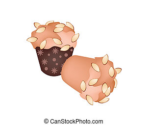 Two Muffins with Almonds on White Background - Snack and...
