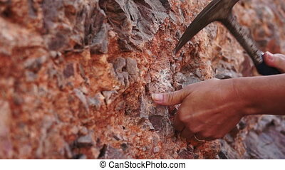 Industrial Mining Rock Chipping - Close up shot of a...