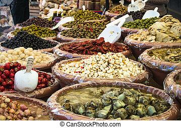 Antipasti on market - several antipasti on italian market