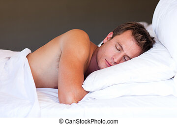 Young man sleeping - Attractive young man sleeping