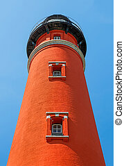 Beneath Ponce Inlet Light - The brilliant red Ponce de Leon...