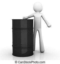 Oil Barrel - A cartoon character presenting a oil barrel. 3D...