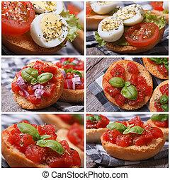 Set of photo Italian bruschetta with tomato