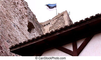 The castle tower with a flag - The old medieval castle tower...