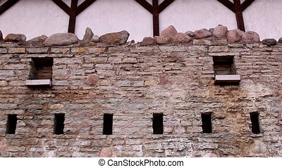 The stone wall of the old castle - The stone wall of the old...