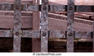 The rusty metal gate of the old castle - The rusty metal...