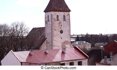 The old church tower - The old medieval church tower with a...