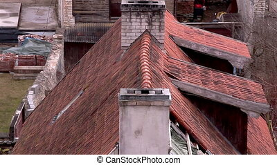 The view of the roof of an old church