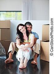 Couple moving house - Happy couple moving house