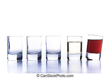Glasses for alcoholic drinks. Isolated over white background