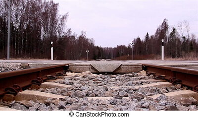 The intersection of the railway and the road