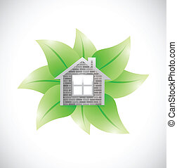 leaves and home illustration design over a white background