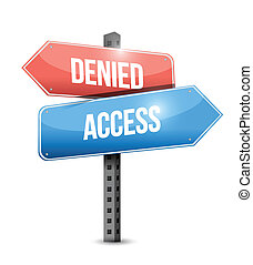 denied and access signpost illustration design