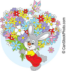 Bunny with flowers